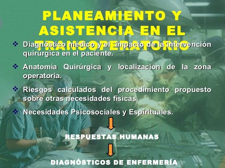 PLANEAMIENTO Y ASISTENCIA EN EL TRANSOPERATORIO <ul><li>Diagnóstico médico y el  impacto de la intervención quirúrgica en ...