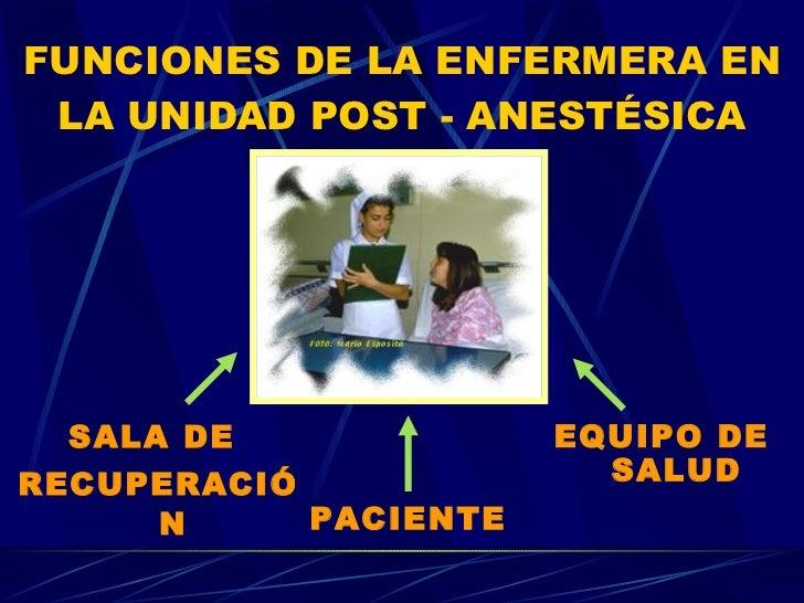FUNCIONES DE LA ENFERMERA EN LA UNIDAD POST - ANESTÉSICA <ul><li>SALA DE  </li></ul><ul><li>RECUPERACIÓN </li></ul>PACIENT...