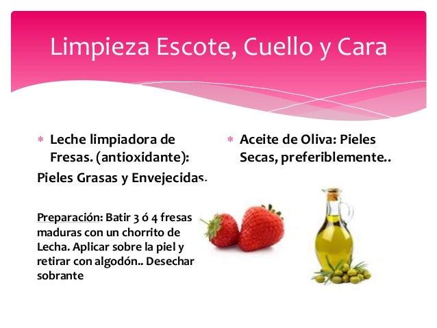 Limpieza Escote, Cuello y Cara  Leche limpiadora de Fresas. (antioxidante): Pieles Grasas y Envejecidas. Preparación: Bat...