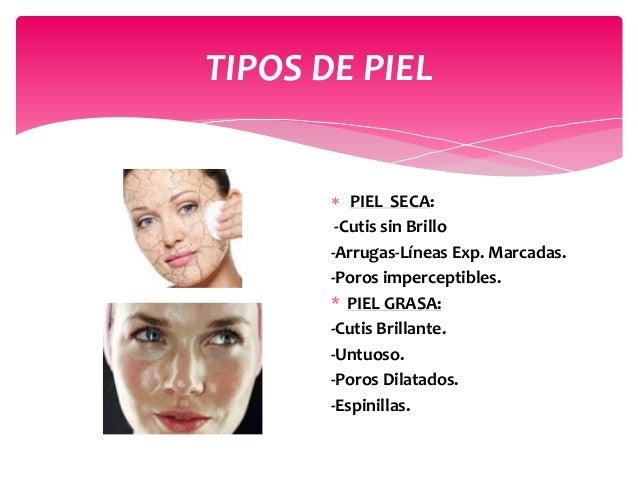 TIPOS DE PIEL  PIEL SECA: -Cutis sin Brillo -Arrugas-Líneas Exp. Marcadas. -Poros imperceptibles. * PIEL GRASA: -Cutis Br...
