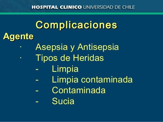 ComplicacionesComplicaciones AgenteAgente · Asepsia y Antisepsia · Tipos de Heridas - Limpia - Limpia contaminada - Contam...