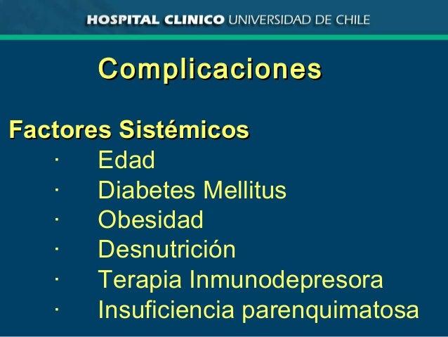 ComplicacionesComplicaciones Factores SistémicosFactores Sistémicos · Edad · Diabetes Mellitus · Obesidad · Desnutrición ·...