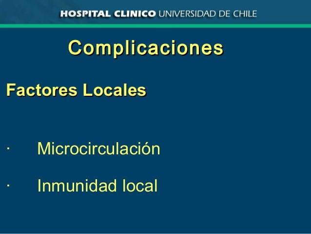 ComplicacionesComplicaciones Factores LocalesFactores Locales · Microcirculación · Inmunidad local