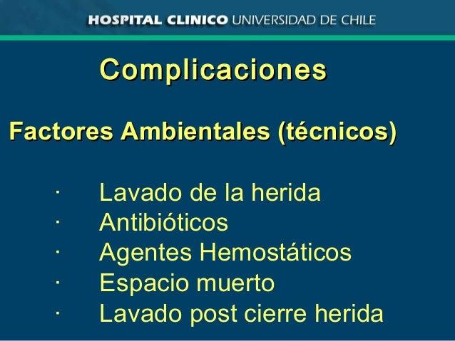 ComplicacionesComplicaciones Factores Ambientales (técnicos)Factores Ambientales (técnicos) · Lavado de la herida · Antibi...