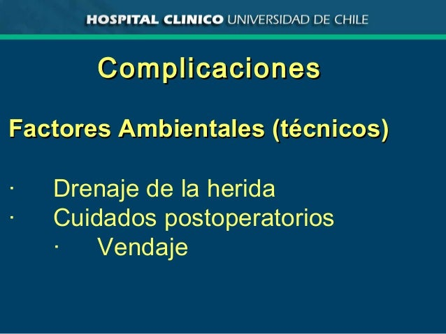 ComplicacionesComplicaciones Factores Ambientales (técnicos)Factores Ambientales (técnicos) · Drenaje de la herida · Cuida...