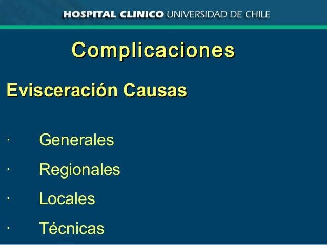 ComplicacionesComplicaciones Evisceración CausasEvisceración Causas · Generales · Regionales · Locales · Técnicas