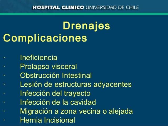 Drenajes Complicaciones · Ineficiencia · Prolapso visceral · Obstrucción Intestinal · Lesión de estructuras adyacentes · I...