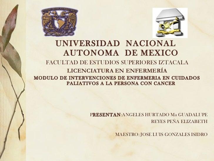 UNIVERSIDAD NACIONAL       AUTONOMA DE MEXICO   FACULTAD DE ESTUDIOS SUPERIORES IZTACALA        LICENCIATURA EN ENFERMERÍA...