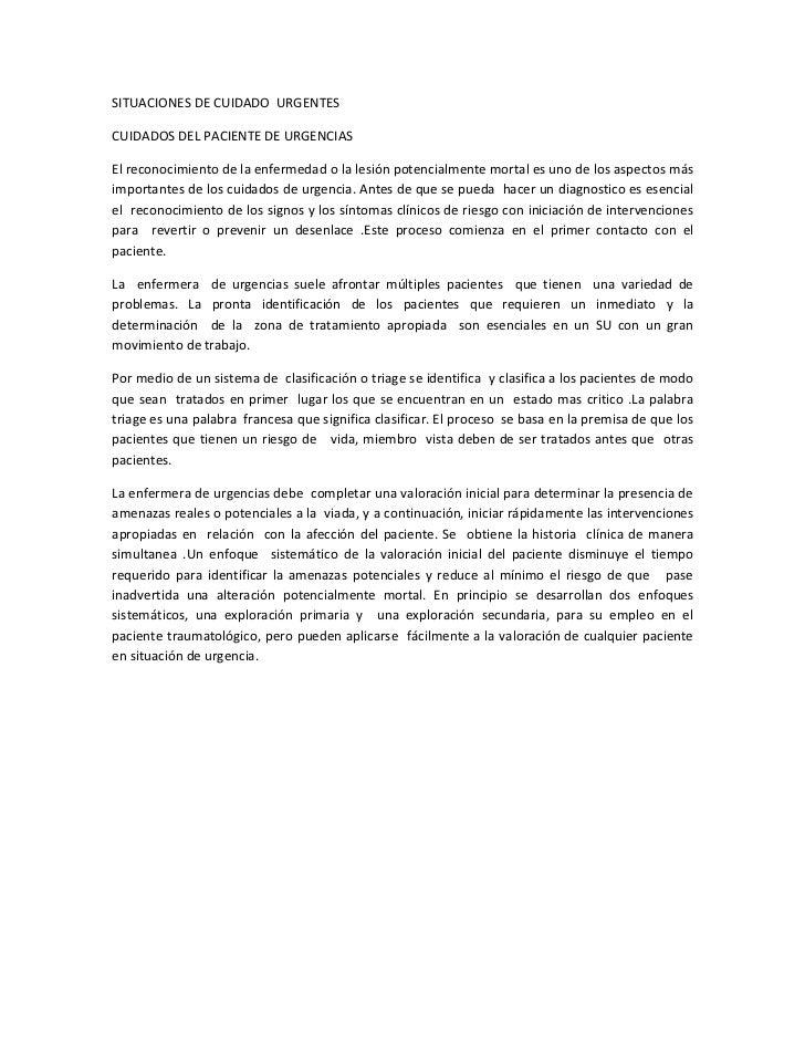 SITUACIONES DE CUIDADO URGENTESCUIDADOS DEL PACIENTE DE URGENCIASEl reconocimiento de la enfermedad o la lesión potencialm...