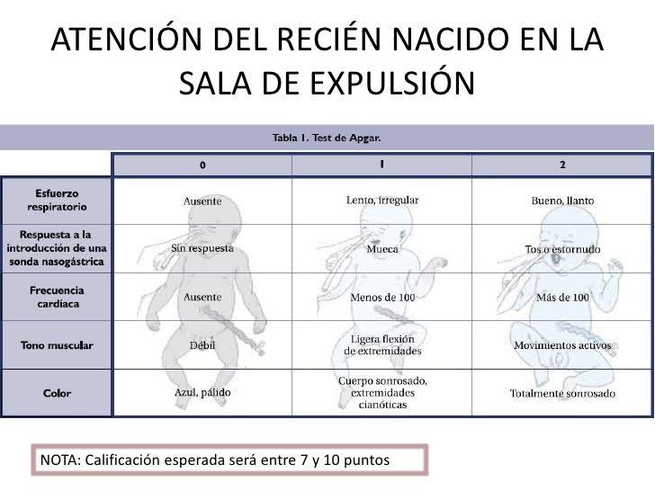 ATENCIÓN DEL RECIÉN NACIDO EN LA        SALA DE EXPULSIÓNNOTA: Calificación esperada será entre 7 y 10 puntos