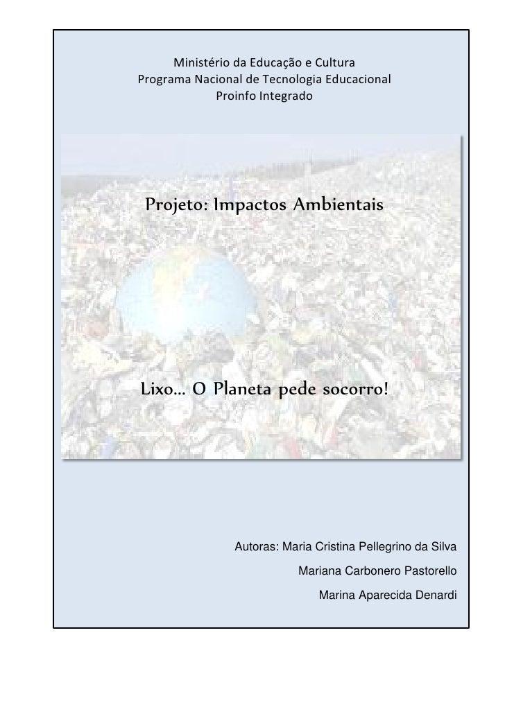 Ministério da Educação e CulturaPrograma Nacional de Tecnologia Educacional             Proinfo Integrado Projeto: Impacto...