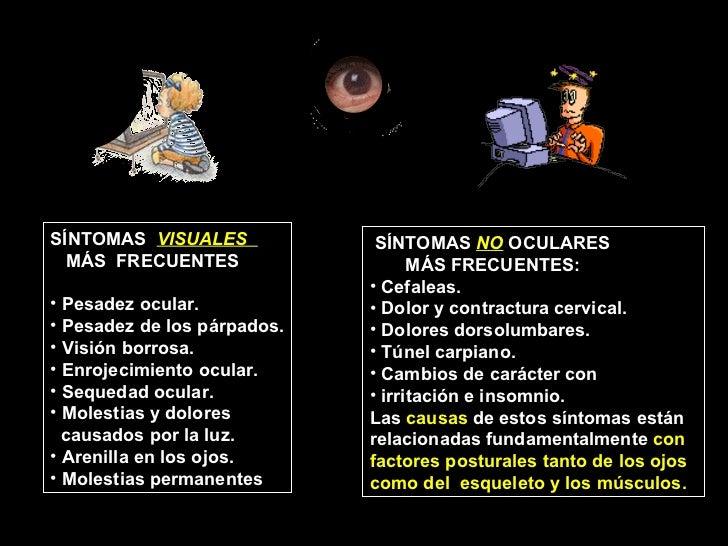 <ul><li>SÍNTOMAS  NO  OCULARES  </li></ul><ul><li>MÁS FRECUENTES: </li></ul><ul><li>Cefaleas. </li></ul><ul><li>Dolor y co...