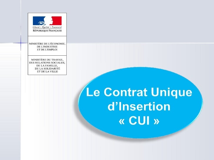 Le CUI (Contrat Unique d'Insertion)   • La mise en place du Contrat Unique d'Insertion modifie, en la simplifiant, l'archi...