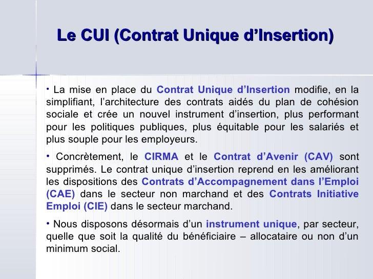 Presentation Du Contrat Unique D Insertion Ddte Mars 2010