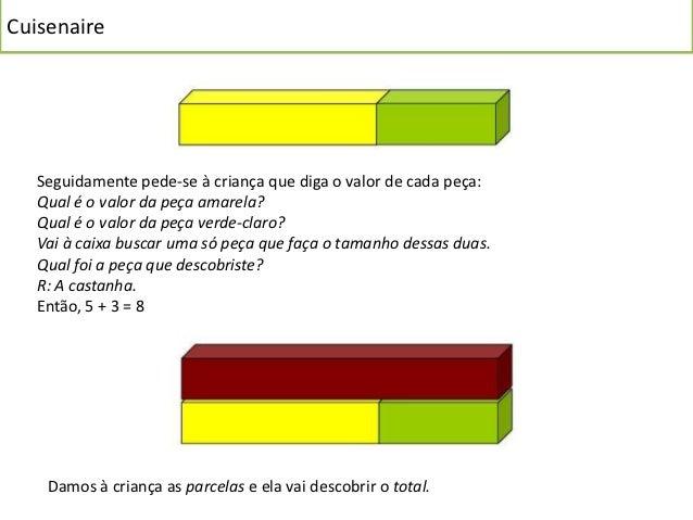 Cuisenaire   Seguidamente pede-se à criança que diga o valor de cada peça:   Qual é o valor da peça amarela?   Qual é o va...