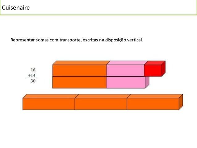 Cuisenaire   Representar somas com transporte, escritas na disposição vertical.
