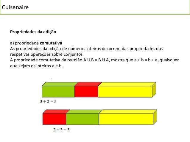 Cuisenaire   Propriedades da adição   a) propriedade comutativa   As propriedades da adição de números inteiros decorrem d...