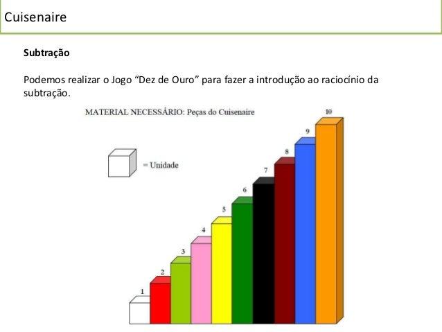"""Cuisenaire   Subtração   Podemos realizar o Jogo """"Dez de Ouro"""" para fazer a introdução ao raciocínio da   subtração."""