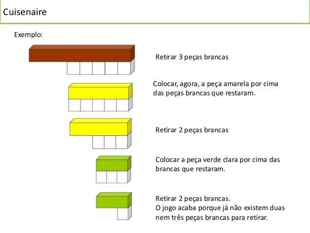 Cuisenaire  Exemplo:             Retirar 3 peças brancas             Colocar, agora, a peça amarela por cima             d...