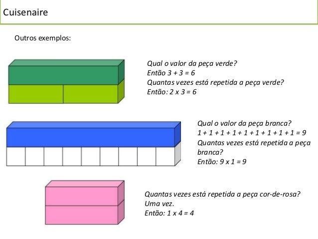 Cuisenaire  Outros exemplos:                     Qual o valor da peça verde?                     Então 3 + 3 = 6          ...