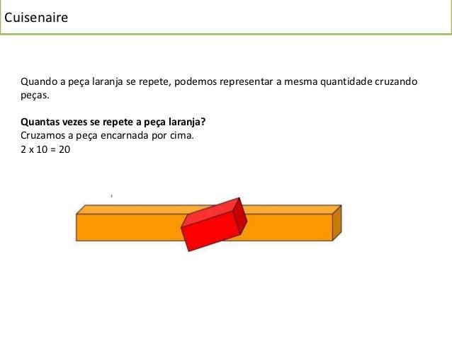 Cuisenaire  Quantas vezes se repete a peça laranja?  Três vezes… cruzamos a peça verde clara  3 x 10 = 30