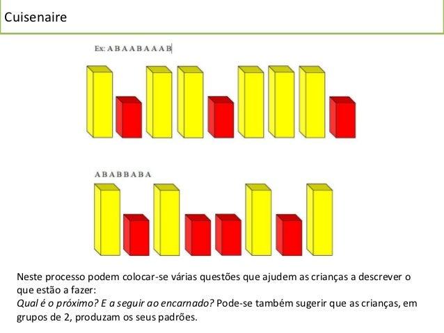 Cuisenaire Diversidade de padrões: as características associadas ao padrão podem ser variadas, com a cor (exemplo atrás ef...