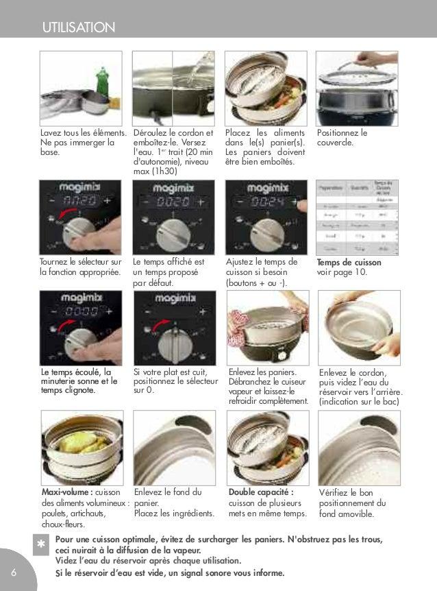 Cuiseur vapeur magimix mode d 39 emploi et recettes vapeur - Temps de cuisson mont d or ...