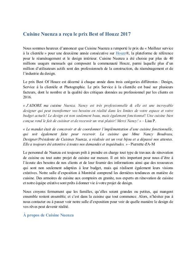 Cuisine Nuenza a reçu le prix Best of Houzz 2017 Nous sommes heureux d'annoncer que Cuisine Nuenza a remporté le prix du «...