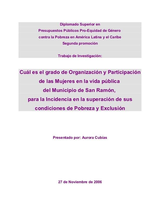 Diplomado Superior en       Presupuestos Públicos Pro-Equidad de Género       contra la Pobreza en América Latina y el Car...