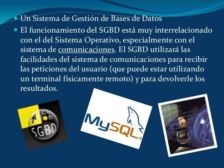 Un Sistema de Gestión de Bases de Datos<br />El funcionamiento del SGBD está muy interrelacionado con el del Sistema Opera...