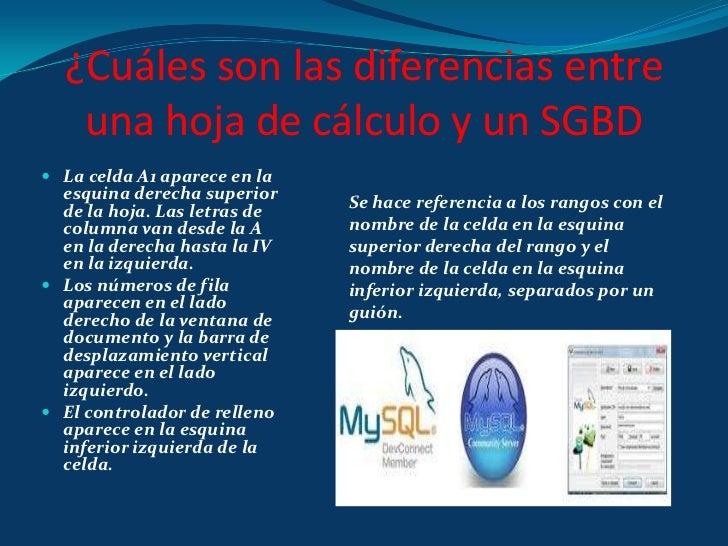 ¿Cuáles son las diferencias entre una hoja de cálculo y un SGBD <br />La celda A1 aparece en la esquina derecha superior d...