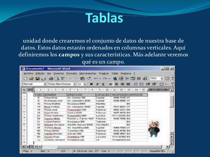Tablas<br />unidad donde crearemos el conjunto de datos de nuestra base de datos. Estos datos estarán ordenados en columna...