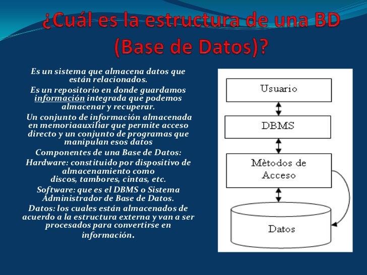 ¿Cuál es la estructura de una BD (Base de Datos)?<br />Es un sistema que almacena datos que están relacionados.<br />Es un...