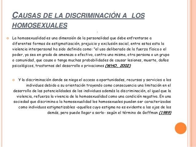 Discriminacion homosexual causas