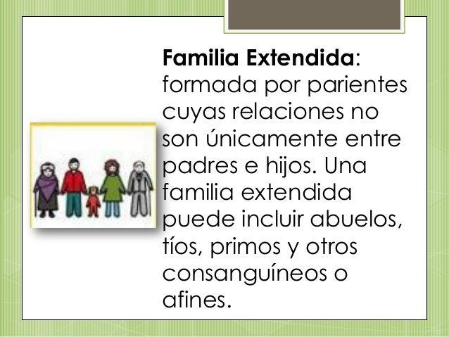 Familia Extendida: formada por parientes cuyas relaciones no son únicamente entre padres e hijos. Una familia extendida pu...