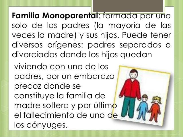 Familia Monoparental: formada por uno solo de los padres (la mayoría de las veces la madre) y sus hijos. Puede tener diver...