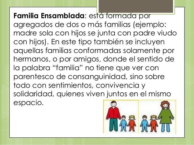 Familia Ensamblada: está formada por agregados de dos o más familias (ejemplo: madre sola con hijos se junta con padre viu...