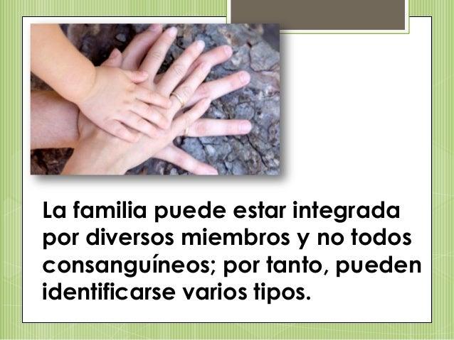 La familia puede estar integrada por diversos miembros y no todos consanguíneos; por tanto, pueden identificarse varios ti...