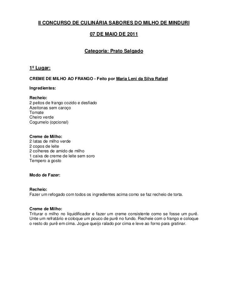 II CONCURSO DE CULINÁRIA SABORES DO MILHO DE MINDURI                                07 DE MAIO DE 2011                    ...