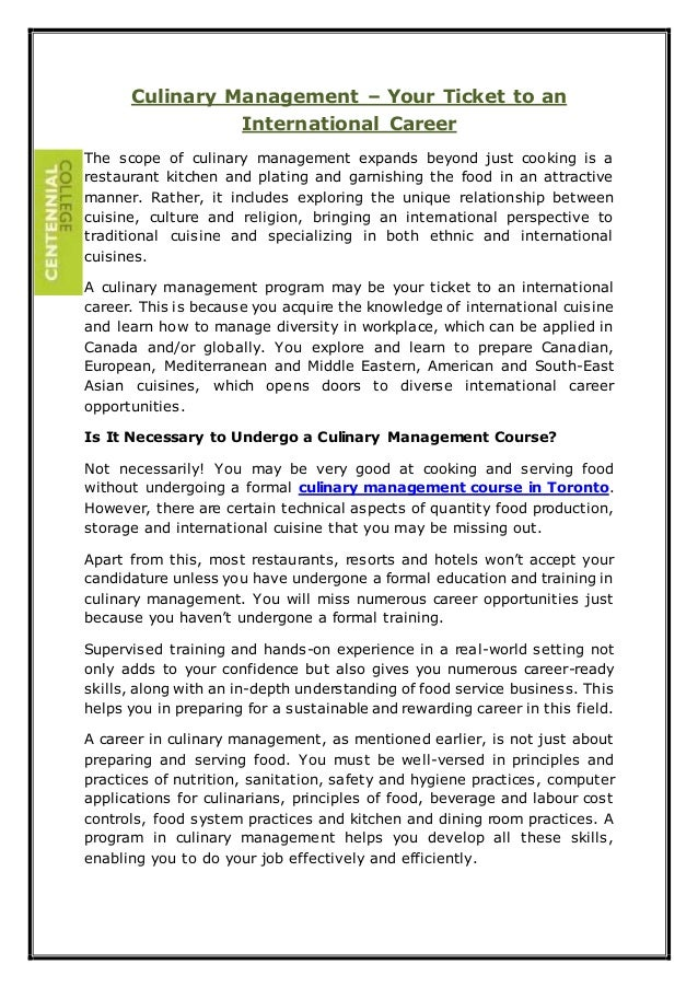 Culinary Management – Your Ticket to an International Career The scope of culinary management expands beyond just cooking ...