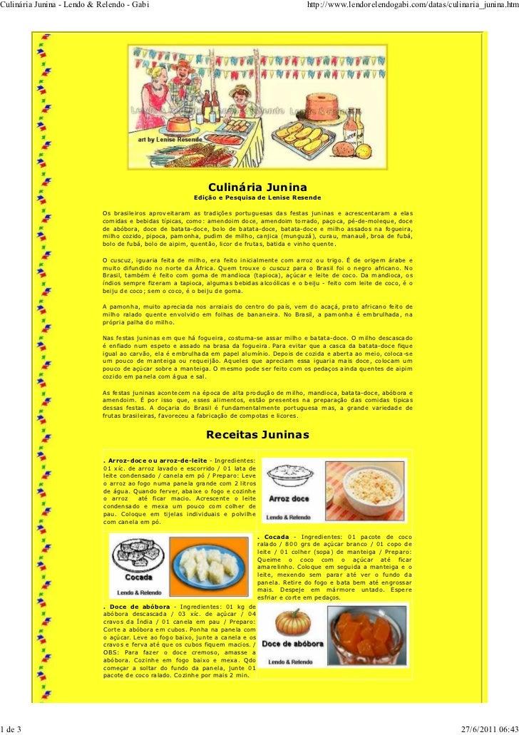 Culinária Junina - Lendo & Relendo - Gabi                                                      http://www.lendorelendogabi...