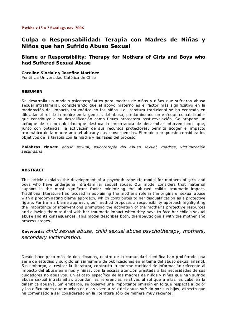 Psykhev.15n.2Santiagonov.2006Culpa o Responsabilidad: Terapia con Madres de Niñas yNiños que han Sufrido Abuso Sexual...