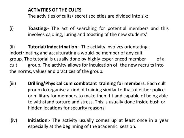 cult activities and psychological manipulation A page coercive mind control tactics  or tactile fixation drills, excessive exact repetition of routine activities,  psychological manipulation.