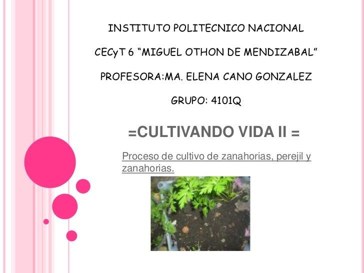 "INSTITUTO POLITECNICO NACIONAL<br />CECyT 6 ""MIGUEL OTHON DE MENDIZABAL""<br />PROFESORA:MA. ELENA CANO GONZALEZ<br />GRUPO..."