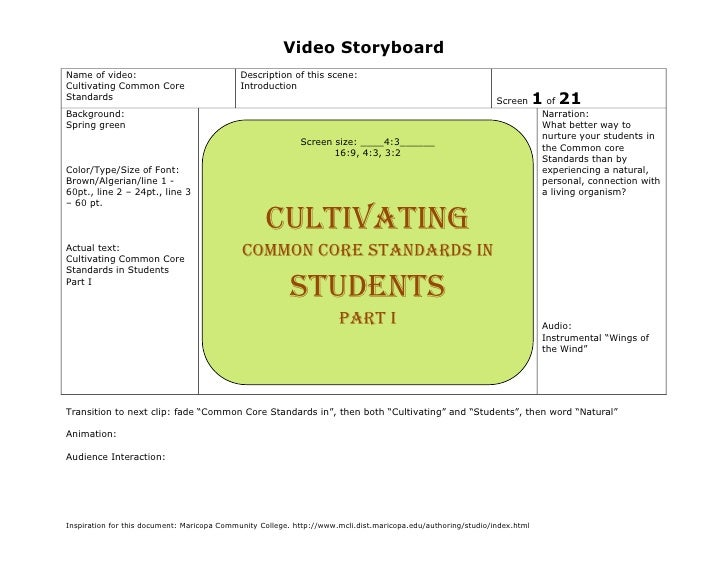 Video StoryboardName of video:                               Description of this scene:Cultivating Common Core            ...
