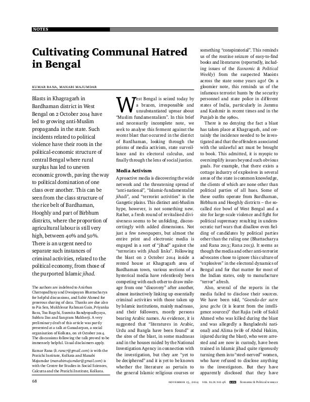 NOTES NOVEMber 15, 2014 vol xlix no 46 EPW Economic & Political Weekly68 Cultivating Communal Hatred in Bengal Kumar Rana,...