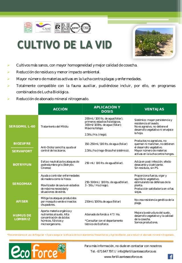 CULTIVO DE LA VID   Cultivos más sanos, con mayor homogeneidad y mejor calidad de cosecha.    Reducción de residuos y me...