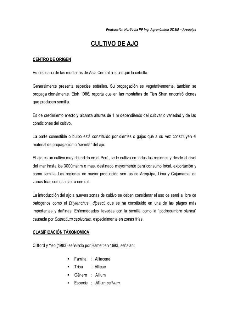Producción Hortícola PP Ing. Agronómica UCSM – Arequipa                                         CULTIVO DE AJO  CENTRO DE ...