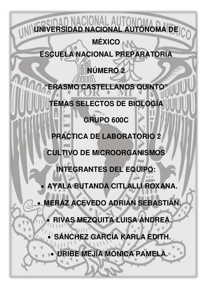 "UNIVERSIDAD NACIONAL AUTÓNOMA DE             MÉXICO ESCUELA NACIONAL PREPARATORIA            NÚMERO 2  ""ERASMO CASTELLANOS..."