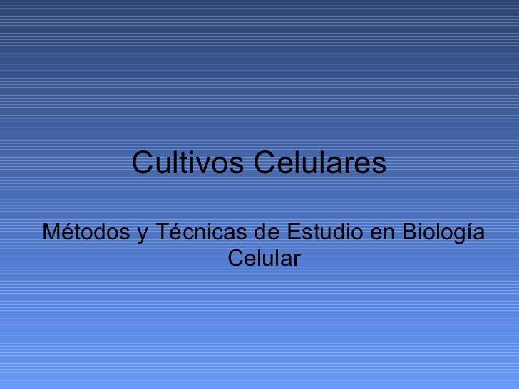 Cultivos Celulares Métodos y Técnicas de Estudio en Biología Celular